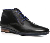 Herren Schuhe Schnürstiefelette, Glattleder, schwarz
