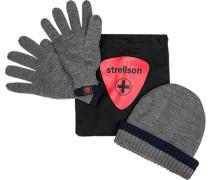 Herren strellson Sportswear Mütze+ Handschuhe Schurwoll-Mix grau