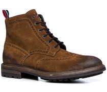 Herren Schuhe Stiefeletten Veloursleder cuoio braun