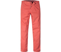 Herren Hose Chino Regular Fit Baumwoll-Stretch orangerot