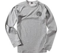 Herren T-Shirt Longsleeve Baumwolle hell meliert