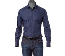 Herren Hemd Popeline marine blau