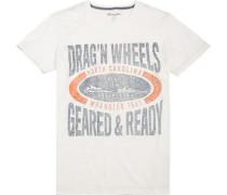 Herren T-Shirt, Slim Fit, Baumwolle, creme weiß
