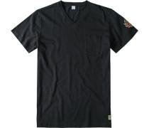 Herren T-Shirt Umberto Baumwolle marine blau