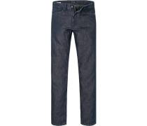 Herren Jeans Regular Cut Baumwoll-Leinen-Mix indigo blau