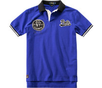 Herren Polo-Shirt Custom Fit Baumwoll-Piqué royalblau