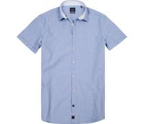 Herren Hemd Slim Fit Baumwolle blau gemustert