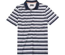 Herren Polo-Shirt Baumwolle weiß- gestreift