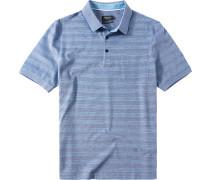 Herren Polo-Shirt Baumwoll-Piqué blau gestreift
