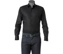 Herren Hemd Slim Fit Stretch-Popeline schwarz