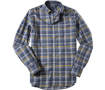 Herren Hemd, New York Fit, Popeline, denim-gelb kariert blau