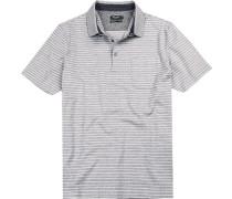 Herren Polo-Shirt, Baumwolle mercerisiert, hellgrau-weiß gestreift