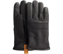 Schwarze UGG Handschuhe CASUAL LEATHER GLOVE WITH PULL