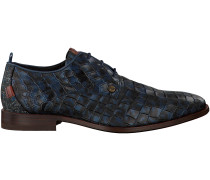 Blaue Rehab Business Schuhe GREG CROCO ARMY