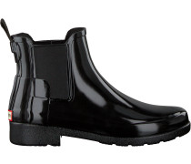 Hunter Gummistiefel Original Refined Chelsea Gloss Schwarz Damen