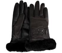 UGG Handschuhe Classic Leather Logo Glove Schwarz Damen