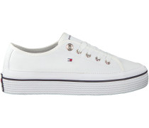 Weiße Tommy Hilfiger Sneaker CORPORATE FLATFORM SNEAKER