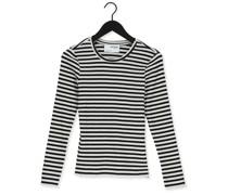 T-shirt Anna Ls Crew Neck Tee Stripe Schwarz Damen