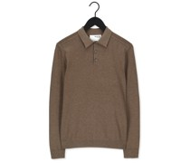 Polo-shirt Slhberg Ls Knit Polo Neck B No Taupe Herren
