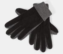 Lederhandschuhe, grau/schwarz
