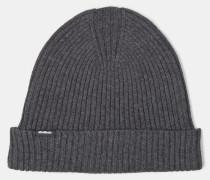 Rippstrick-Mütze, dunkelgrau meliert