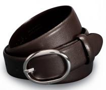 Schmaler Gürtel mit ovaler Schließe in Dunkelbraun