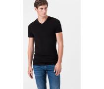 V-Ausschnitt T-Shirt im 2er-Pack in Schwarz
