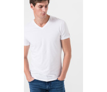 V-Ausschnitt T-Shirt im 2er-Pack in Weiß