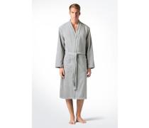 Bademantel Classic mit Kimono-Kragen, Silber-Grau