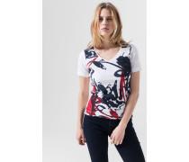 T-Shirt Tora in Weiss gemustert