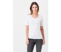 Rundhals-T-Shirt in Weiß