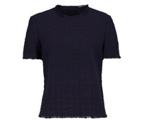 Summer Tweed Kurzarm-Bluse in Navy