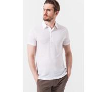 Leinen-Poloshirt Leone in Weiß