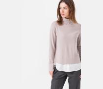 Strick-Pullover mit Blusen-Detail in Hellbeige