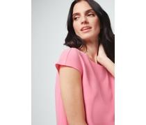 Crêpe-Kurzarm-Bluse in Pink