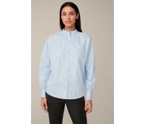 Popeline-Bluse mit Stehkragen und weitem Arm in Hellblau