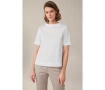 Baumwollstretch-Bluse mit Stehkragen in Weiß