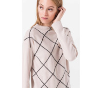 Pullover mit Rautenmuster in hellem Beige
