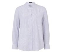 Popeline-Bluse mit Stehkragen in Weiss-Navy gestreift
