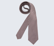 Seiden-Krawatte in Dunkelrot-Weiß gemustert