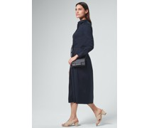Baumwollstretch-Hemdblusenkleid in Navy