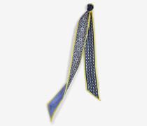 Schmaler Seidenschal in Blau