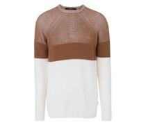 Rundhals-Pullover Raffaele in Camel-Offwhite
