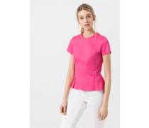 Kurzarm-Bluse mit Ziernähten in Pink