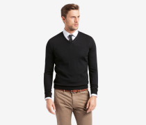 V-Neck-Pullover Marcello in Schwarz