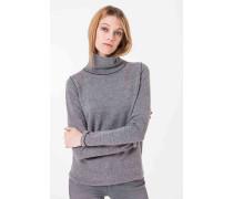 Strukturierter Rollkragen-Pullover in Grau