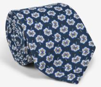 Krawatte mit floralem Muster in Marine