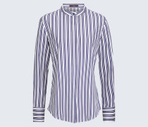 Popeline-Bluse in Navy-Weiß