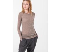 Melierter Jersey-Pullover in Beige