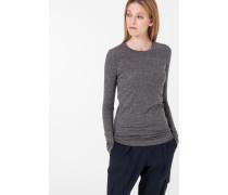 Melierter Jersey-Pullover in Grau